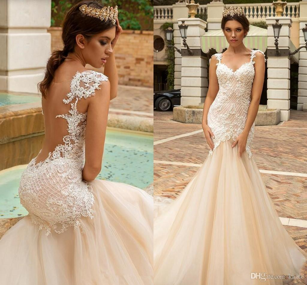 Crystal Design Mermaid Wedding Dress Sexy See Through Back Vestido De Novia Champagne Lace 2019 garden Wedding Dresses