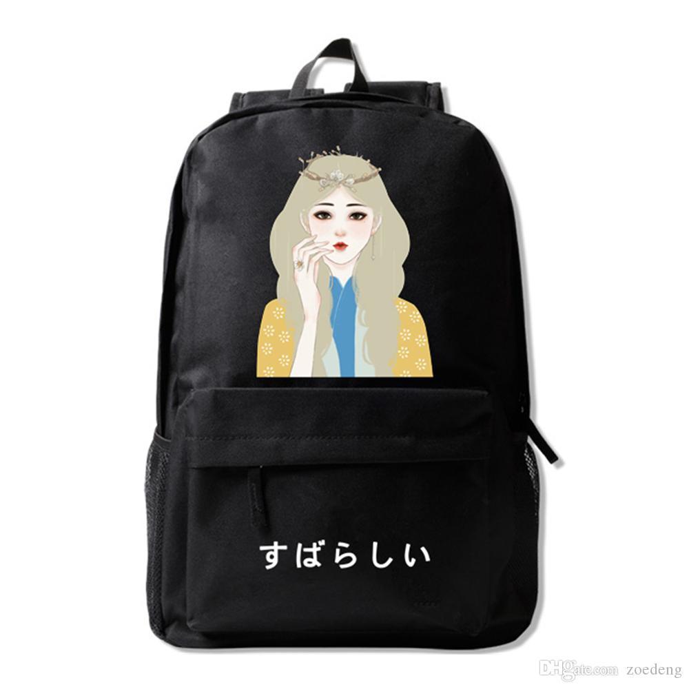 Öğrenciler İlköğretim Ortaokul Bookbag Omuz Çantası ile Okul Çantası Taze Güzel Karikatür Kız Tasarımı için