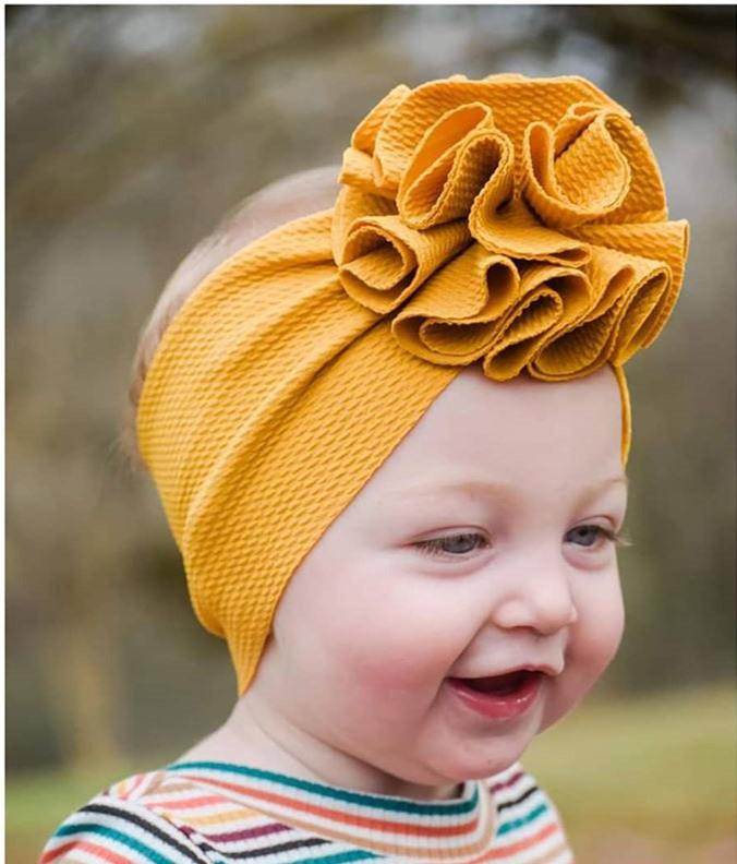 15456 New Europe Baby Girls Wide Headband Kids Elastic Flower Hairband Children Bandanas Florals Head Band Candy Color Hair Accessory