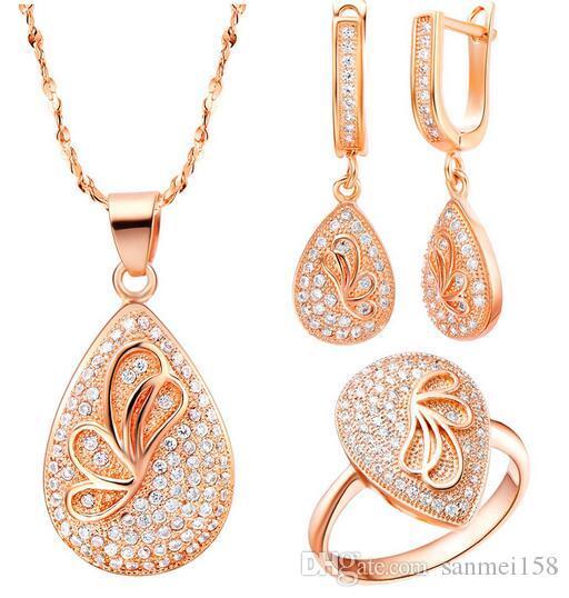 НОВЫЙ комплект стерлингового серебра 925 пробы комплект австрийский хрусталь бабочка ожерелье серьги кольцо