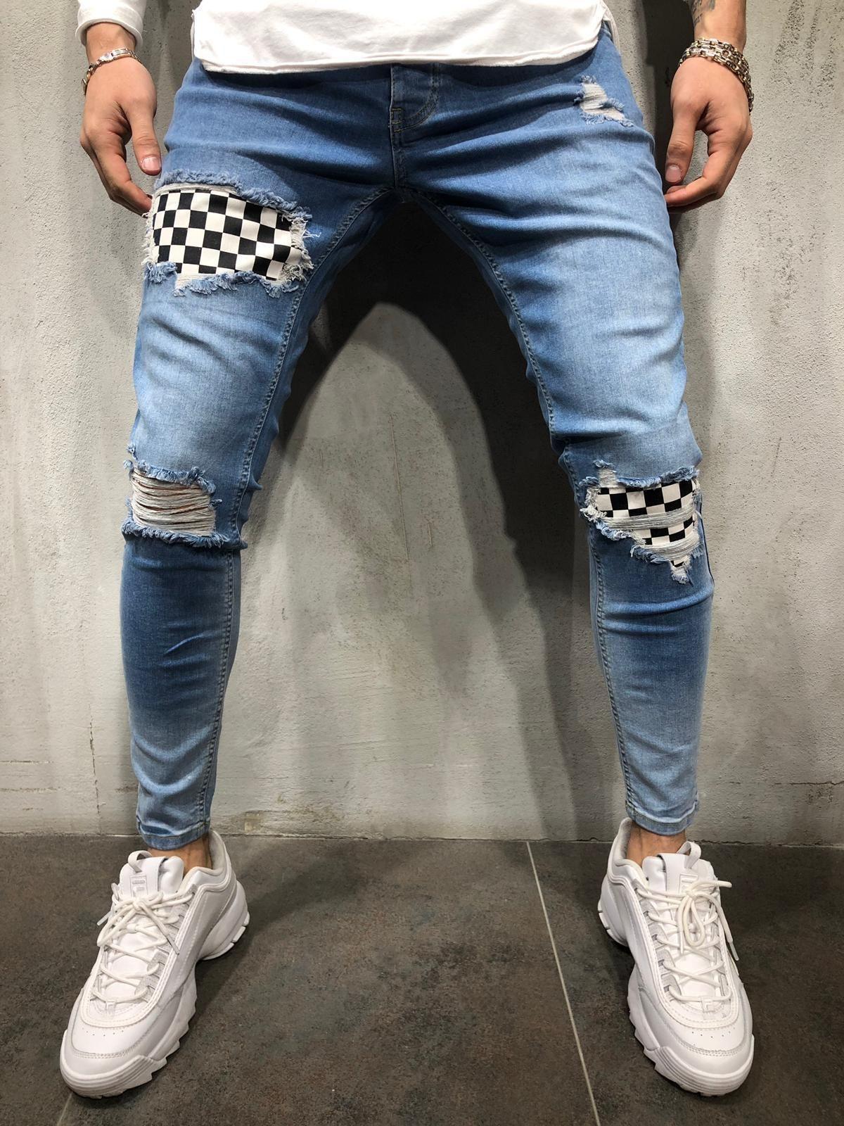 Mens конструктора карандаш джинсы Колено Дыры весна осень Дизайнер Pantalones Улица скейтборд карандаш штаны