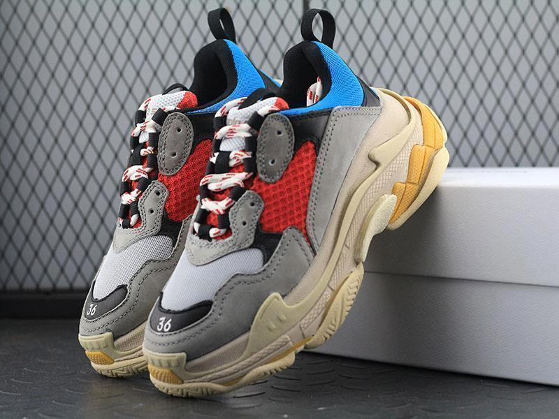 Nouveau Triple Chaussures Hommes Femmes Sneaker haute qualité Couleurs mélangées épais Talon Grand-père formateur Logo boîte originale Chaussures Casual