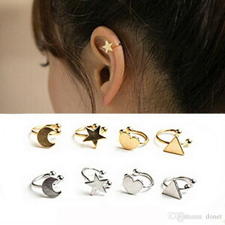 Ear Cuff Clipe Estrela Lua Coração Triângulo Brincos Clipe de Orelha Não Piercing Orelha Clipe Falso Cartilagem Brinco Falso Piercings Um Lado