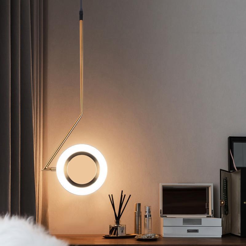 Novelty Aluminum Rings Shine Led Pendant Lights Bedroom Lamp