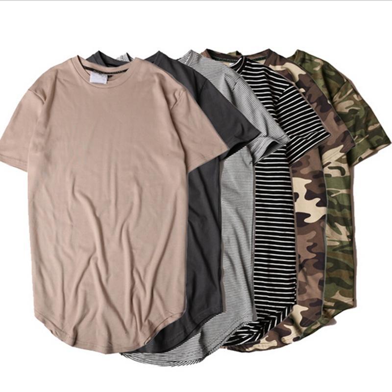 Nueva moda de estilo de verano de rayas curvo Hem camuflaje camiseta de los hombres de palangre extendido Camo Hip Hop camisetas Urbano Kpop Tee Shirts Ropa para Hombre