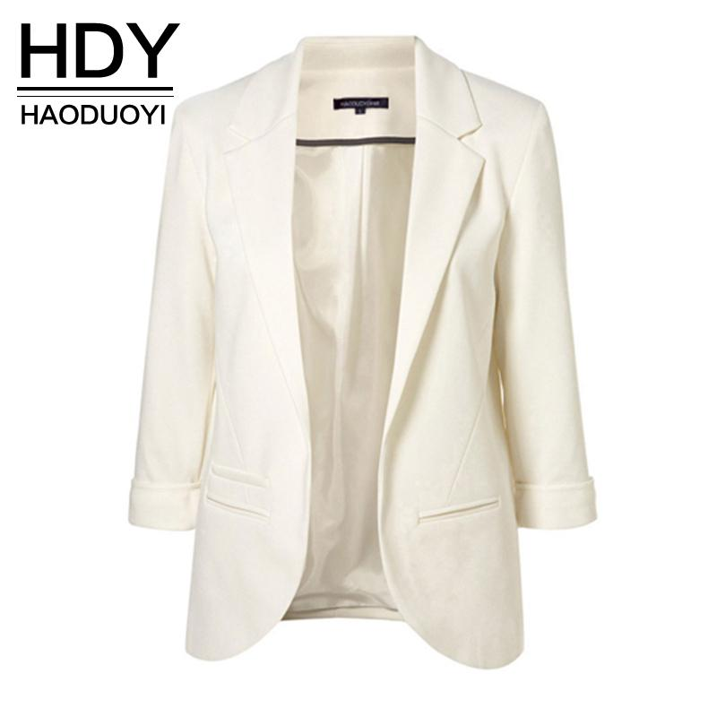 HDY Haoduoyi 2019 Spring Autumn Slim Fit Women Formal Jackets Office Work Open Front Notched Ladies Blazer Coat Hot Sale Fashion T5190612