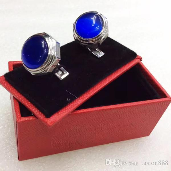 TAO r Boutons de manchette gravent en acier inoxydable manches Clou hommes Boutons de manchette Cuff Français Couleur Luxe Cufflink 1 PAIRE avec cristal bleu