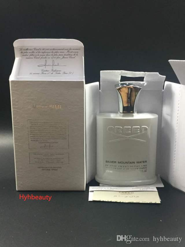 حار العقيدة الأبيض الفضي معطر 120 ML مان عطر جيد جودة عالية رائحة البخور Capactity الفضة جبل المياه بايوت شحن سريع