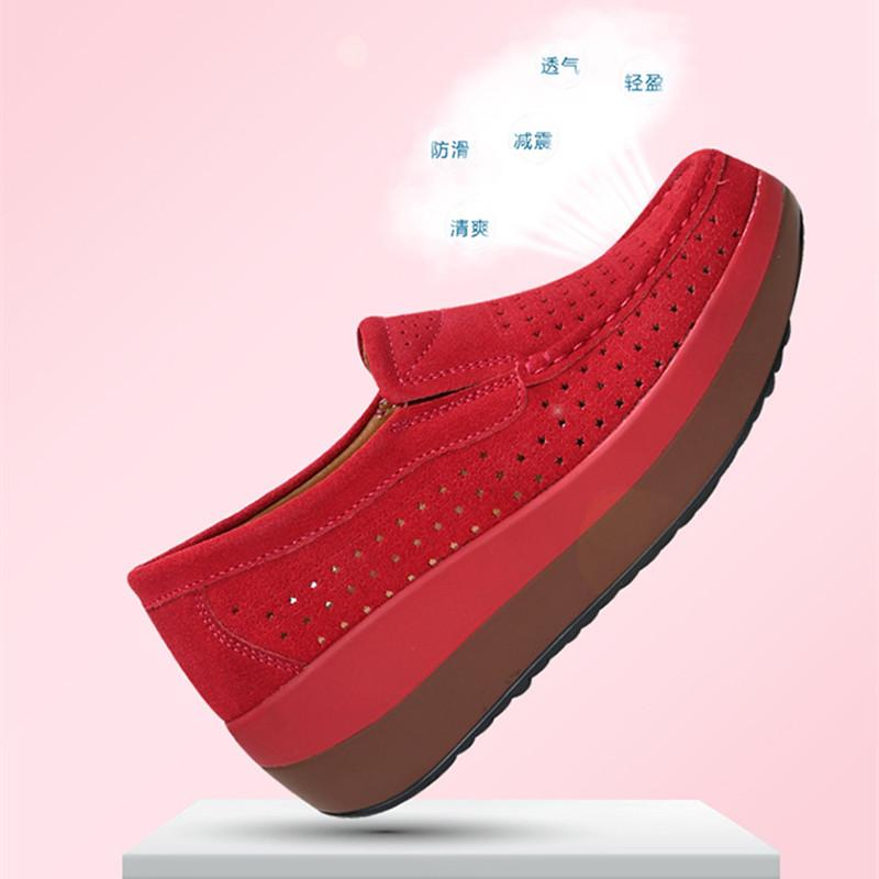 Женская мода Обувь оксфорд толстым дном платформы Повседневная обувь Mother Женский Hollow Hole обувь 2019 лето Мокасины женщина кроссовки