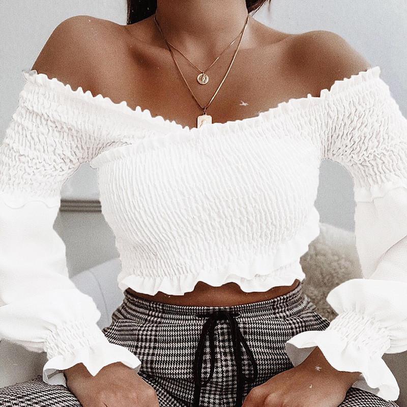 Femmes Sexy Slash Neck Crop Tops Designer manches bouffantes Ruffle T-shirts Mode Pure Color Haut à manches longues Vêtements pour femmes