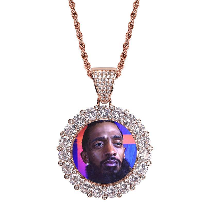 Il nuovo modo di Hip Hop a catena Photo rotonda ciondolo personalizzato placcato oro oro bianco collana ghiacciato i regali monili cubici zircone per gli uomini donne