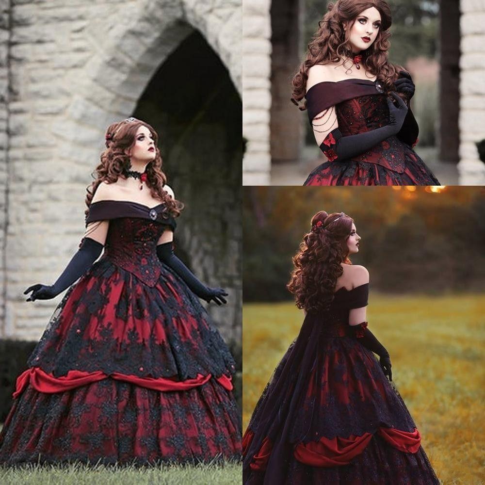 Gothic Belle Rot-Schwarz-Spitze Brautkleider Vintage Lace-up Korsett Steampunk Dornröschen weg von der Schulter plus Größen-Brautkleid