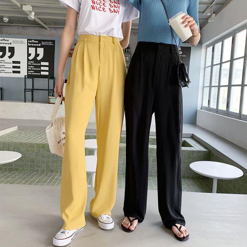 2020 Primavera E Verão doce de cor Chiffon Calças de cintura alta soltas calças retas Arrefecer respirável Tecido Calças Mulheres