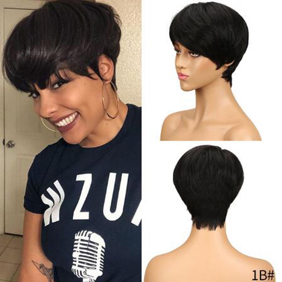 Kurze glatte Haare Perücke peruanische Remy Menschenhaar-Perücken für schwarze Frauen Natural Black maschinell hergestellte Jungfrau-Menschenhaar-Perücke-freies Verschiffen