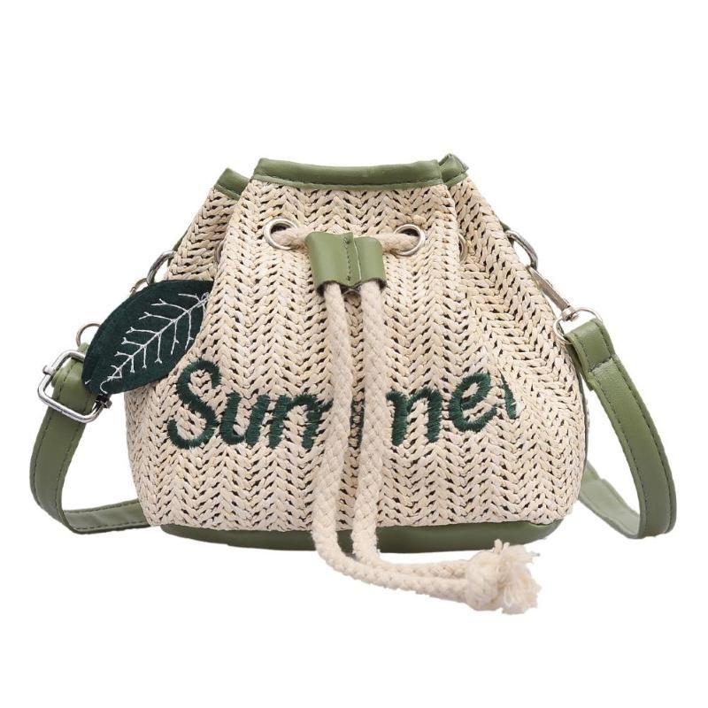 Designer-Ladies Letter Summer Beach Fashion Leaf Decor Shoulder Messenger Handbags Women Casual Straw Drawstring New Bucket Crossbody Bag