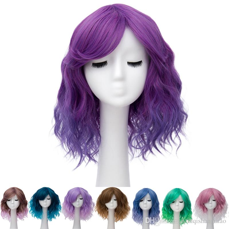 Christmas Pixie Cut Synthetic Cosplay Wigs With Bangs For Women Wig Halloween Party Short Water Wavy Hair Heat Resistant Ombre Two Tones