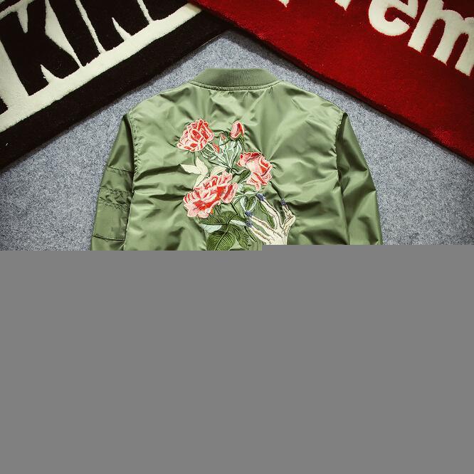 Kış Erkek Moda Uçuş Bombacı ceketler Erkek Geri Nakış Florales Dış Giyim Spor Coats Ordusu Yeşil Lacivert Siyah S-2XL