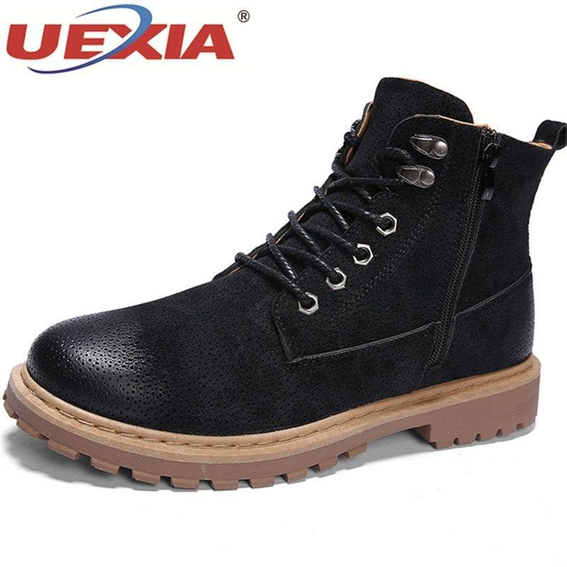 Оптовая зимние сапоги для мужчин сапоги мужской моды дизайн лодыжки замши кожаные сапоги плоские каблуки Botas Masculinas теплая зимняя обувь