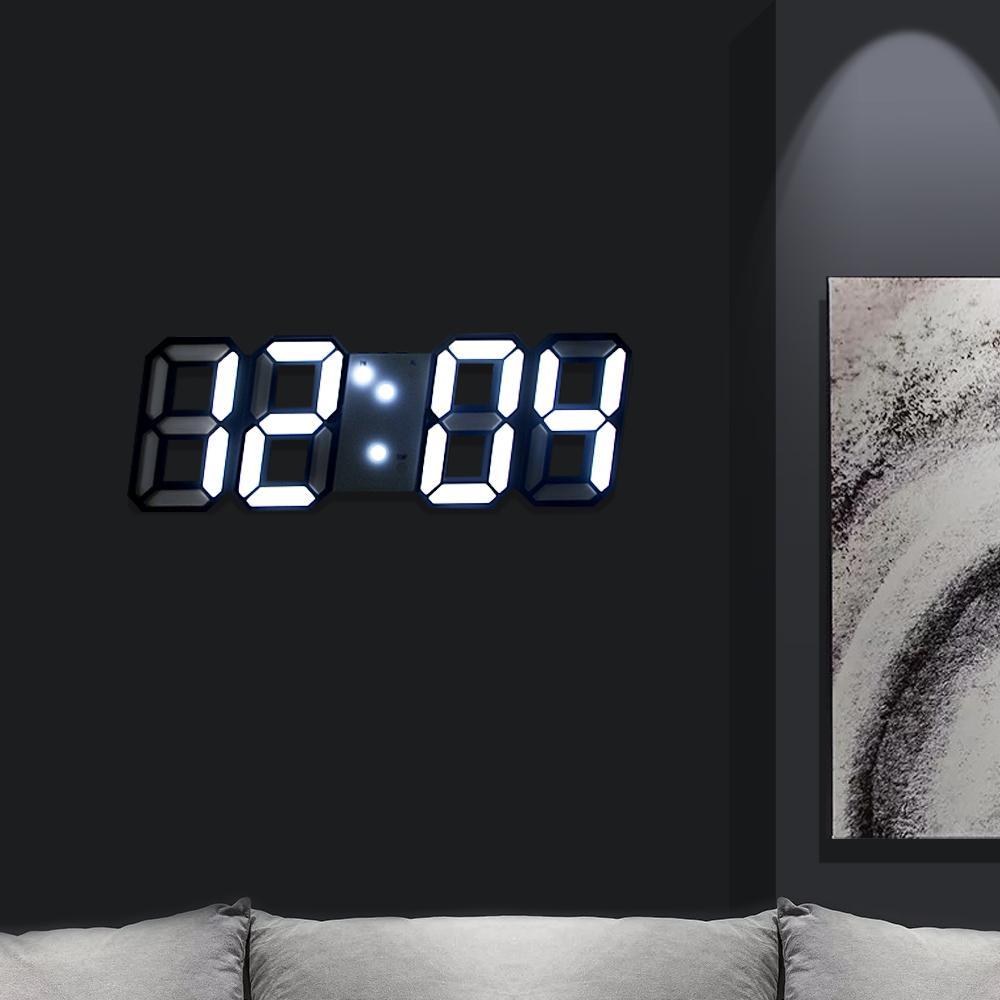 Fábrica LED wholesale3D Relógio de parede Decoração de Natal Luz de exibição Data Hora Modern Alarm Clock Início Sala Tabela Decor