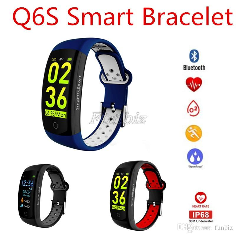 Q6S Heart Rate Monitor Fitness Bracelet Smart Wristband Blood Pressure Oxygen Smart Bracelet Band IP68 Waterproof Watch Q6S Activity Tracker