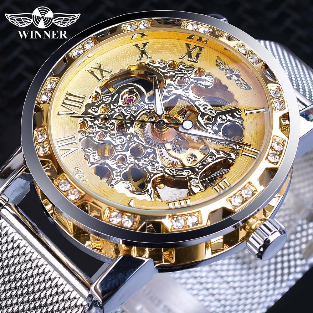Vainqueur Casual Mécanique Montres Pour Hommes Doré Romain De Mode En Acier Inoxydable Ceinture Maille Sangle Montre-Bracelet Horloge Relogio Masculino J190706