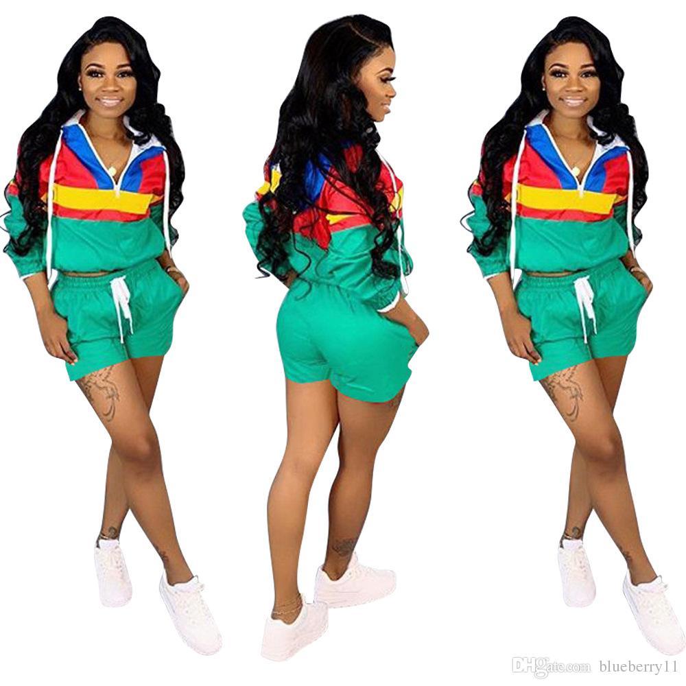 أزياء الصيف مصمم المرأة هوديي 2 قطعة مجموعة رياضية الأعلى مع السراويل الرياضية الرياضية الحجم S-3XL