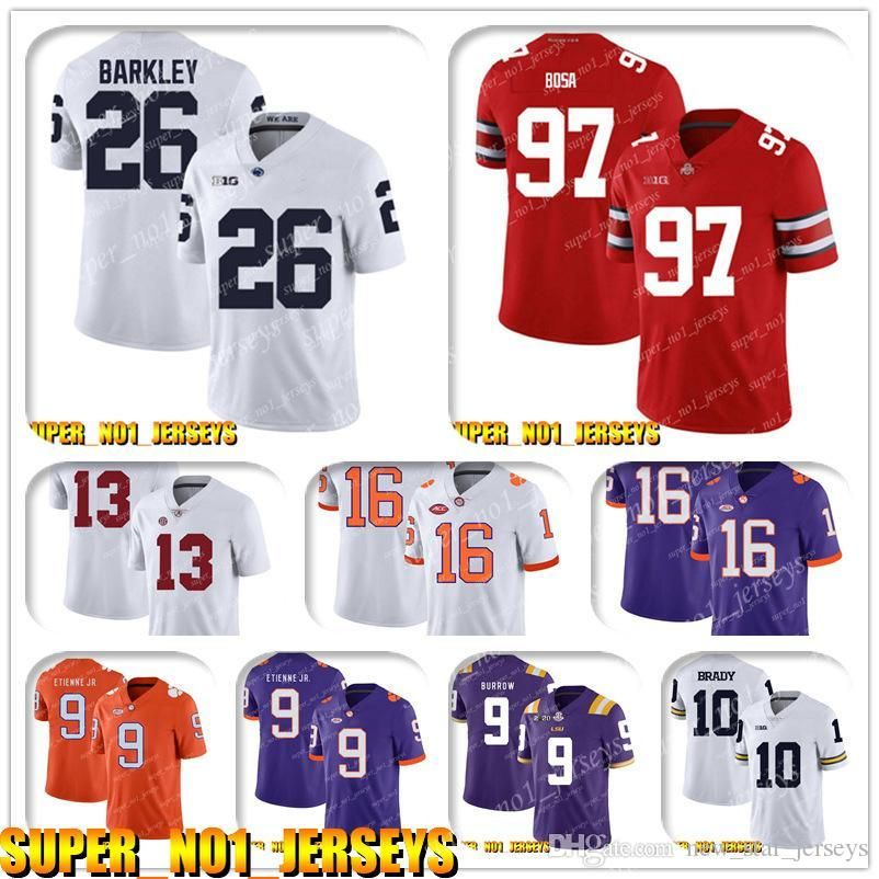 5-24 NCAA 26 Saquon Barkley 97 Nick Bosa Ohio State Buckeyes Koleji Futbol Forması Tom Brady Rob Gronkowski Chris Godwin White