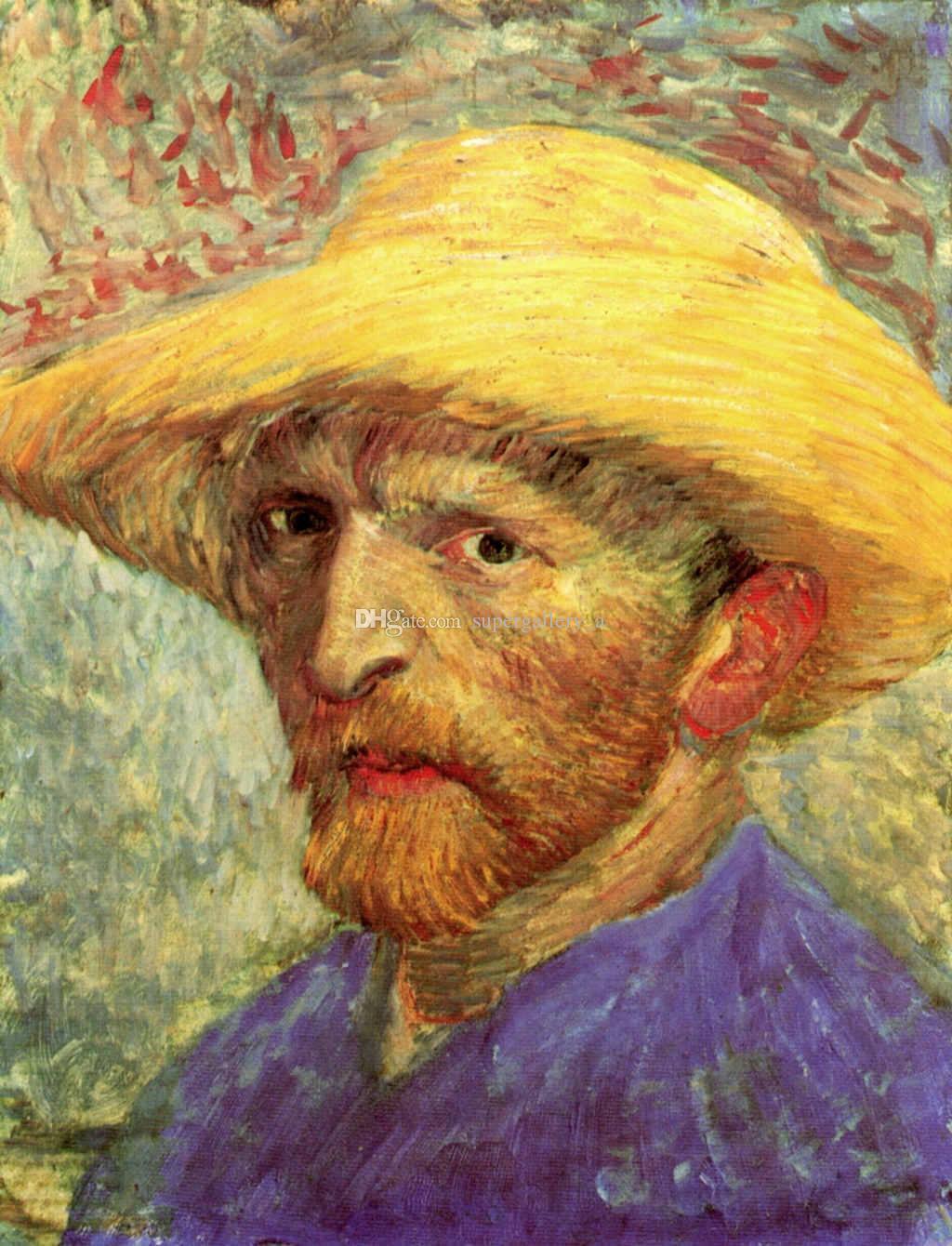 Autoritratto di Van Gogh in cappello di paglia 100% fatto a mano con cornice decorazione della parete tela pittura a olio arte della parete per soggiorno decorazioni per la casa