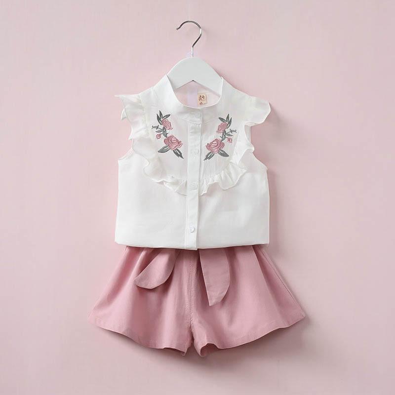 2019 Mädchen bestickte Bluse Outfits zweiteilige Anzüge Hemden + Kleid kurz mit Bogen Baby Anzüge Kinder Sommerkleidung Sets Kleidung zweifarbig