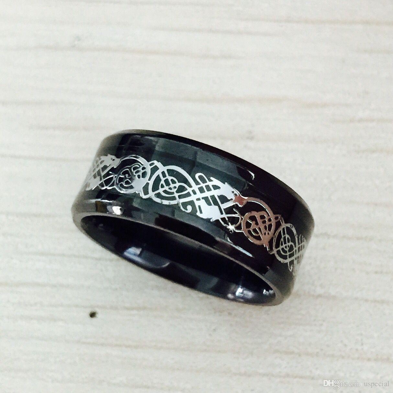 Pop de acero de alta USpecial USpecial Negro inoxidable 316L Anillo para los anillos de boda banda azul de fibra de carbono del anillo del nibelungo dragón para los hombres