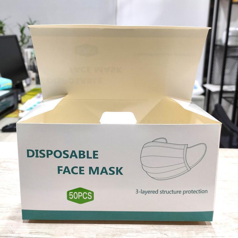 Caja inglesa para máscara Exquisite Máscara de envasado Máscara de cara desechable Blanco Cajas de cartón Paquete para máscaras Puede personalizar