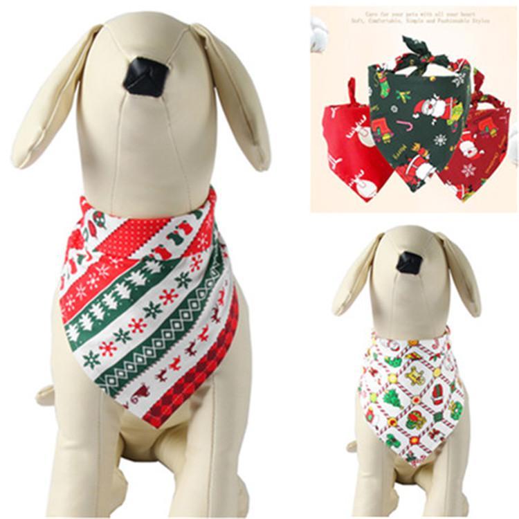 Горячие продаж 5 стилей Pet слюна полотенце Dog Cat Треугольный шарф мультфильм Xmas Pet Cat шарф Pet шейный орнамент T9I00176
