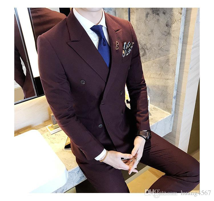 New Style Side Vent Double Breasted Burgundy Wedding Groom Tuxedos Peak Lapel Groomsmen Men Suits Prom Blazer (Jacket+Pants+Tie) 135