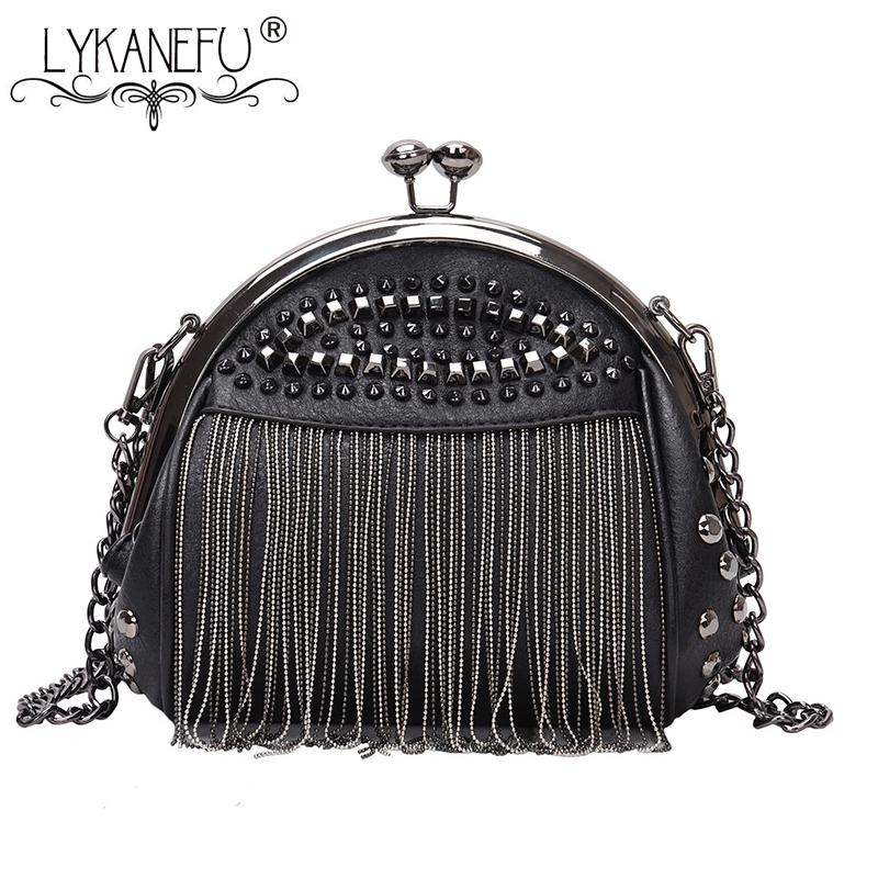 Lykanefu Punk Style Women Bag Pu Leather Handbag With Rivet And Tassel Purse Women's Shoulder Bags Small Cross Body Bag Chain Y19061903