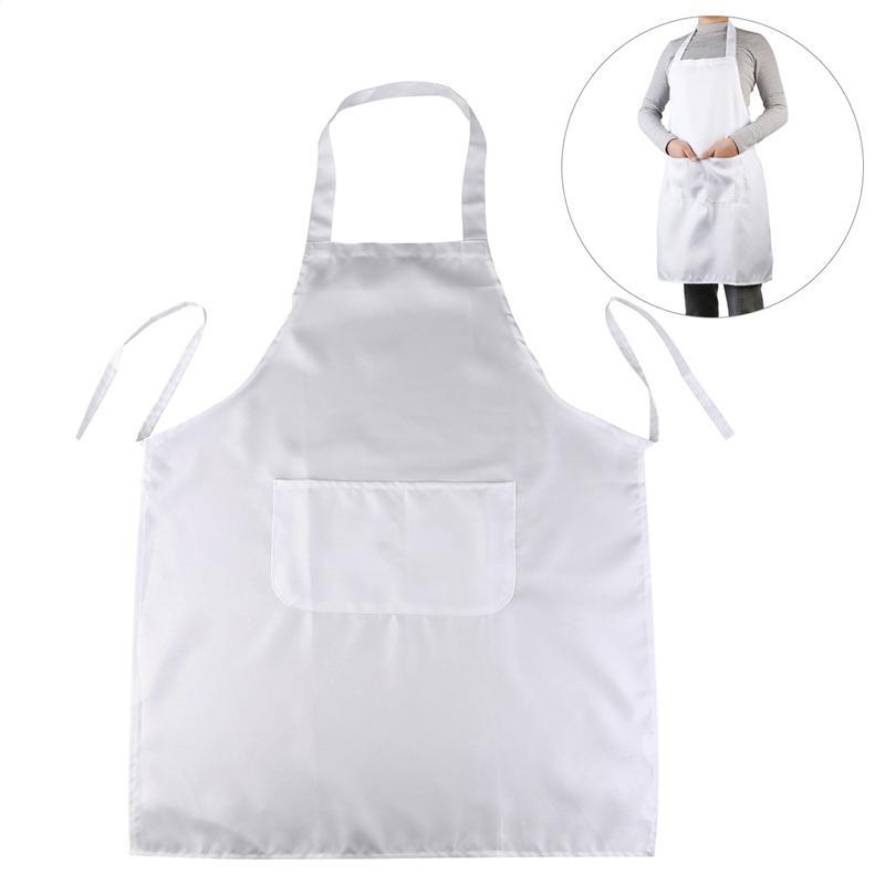 LUOEM White Lady Women Men Apron Cooking Apron Halter-Neck Style Sleeveless Apron With Pocket For Cooking Baking Restaurant Man