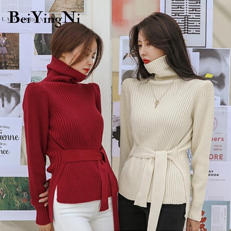 Beiyingni Automne Hiver col roulé Jupettes de Split Casual Chic coréenne pull en tricot femmes Jumper Pull Hauts pour dames Noir Rose