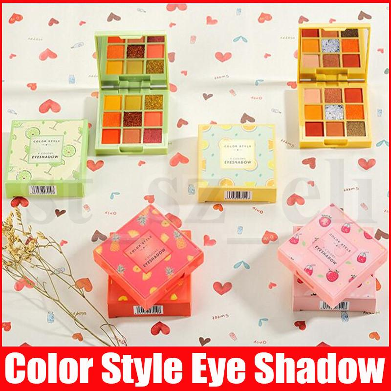 Color Style Eye Makeup Eye Shadow Pressed Powder Palette 9 Color Matte Shimmer Fruit Eyeshadow Shadows 4 Styles