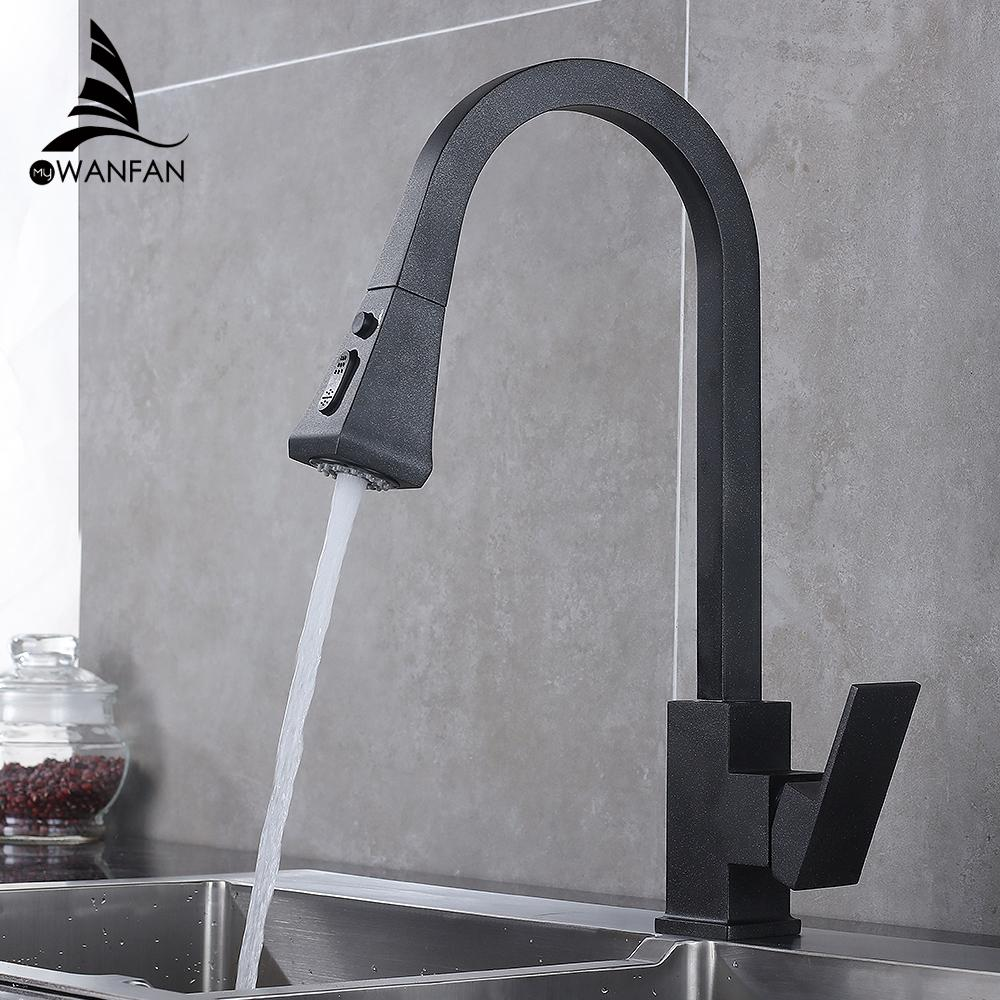 Kitchen Faucets Square Black Single Handle Pull Out Kitchen Tap Single Hole Swivel 360 Degree Rotation Water Mixer Tap 866399R T200424