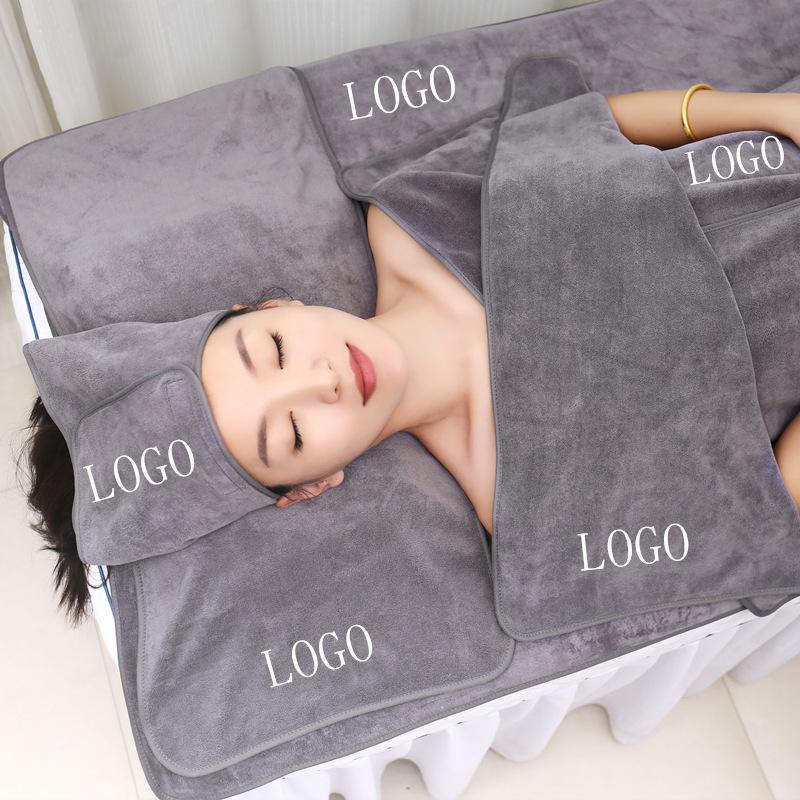 Cinco juego de piezas del salón de belleza toalla de microfibra personalizada Salón turbante de toalla de baño de la falda de cama toallas de baño para adultos