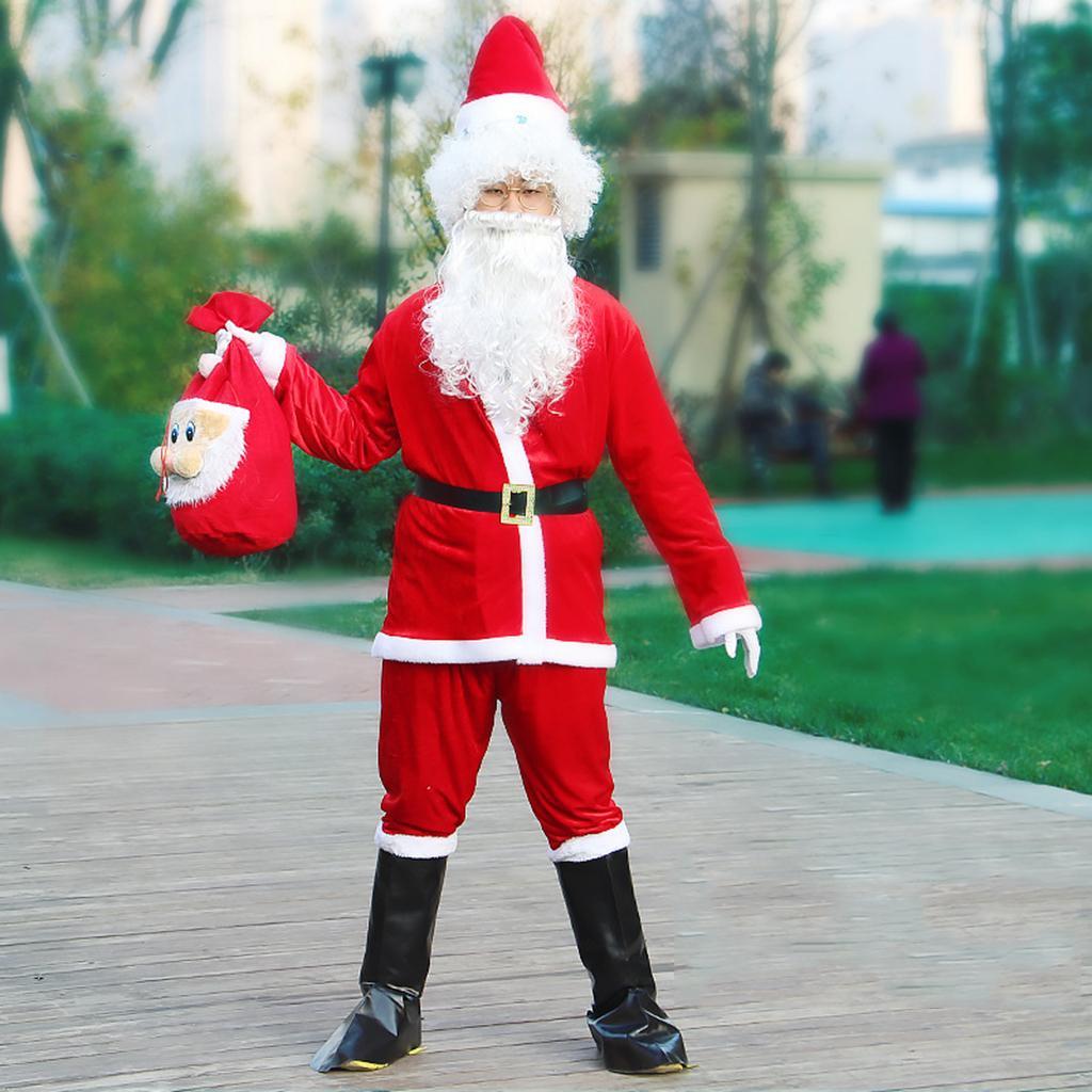 Kadife Noel Baba Role Play Kostüm Seti Noel Baba Kıyafet Fantezi Elbise