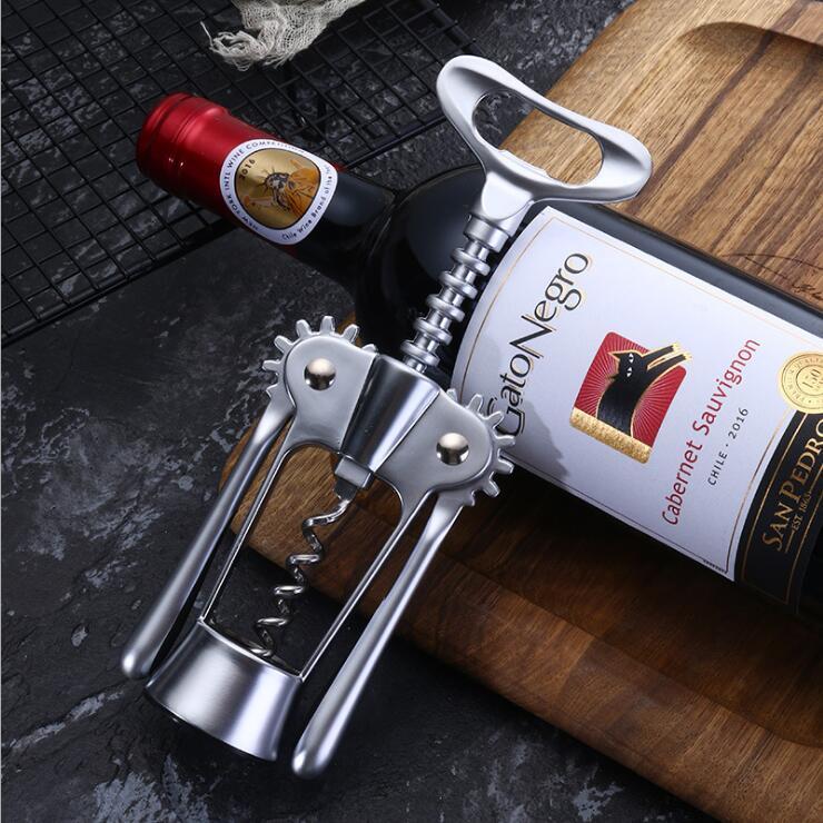 Multifunctional Wing Corkscrew Wine Bottle Beer Opener,Premium Zinc Alloy Wine Opener with Bottle Stopper,Wine Cork and Beer Cap Remover,Wine beer corkscrew and stopper set