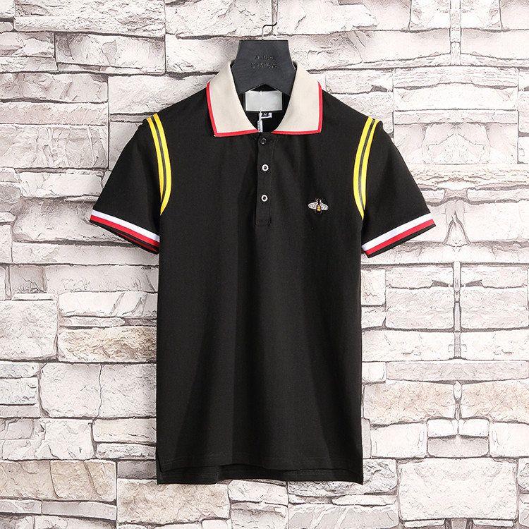 Новые роскоши дизайнеры футболка для мужчин полосой мода Poloshirt рубашка мужская высокая улица змея маленькая пчела тигр печати мужская рубашка поло