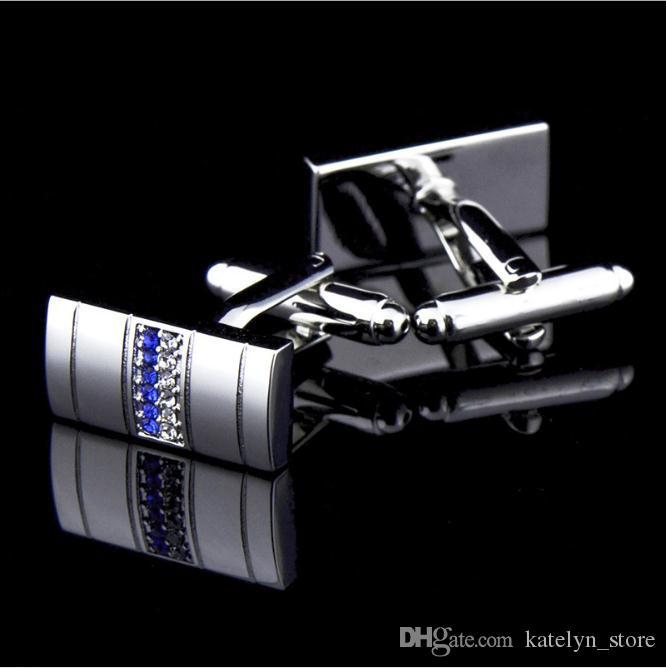 Novidade homens de negócios Abotoaduras Duplo Row azul e branco cristal de diamante Abotoaduras