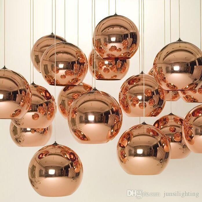 Modern Copper/Sliver/Gold glass ball lampshade Inside Mirror pendant Light E27 Bulb LED indoor Home Pendant Lamp