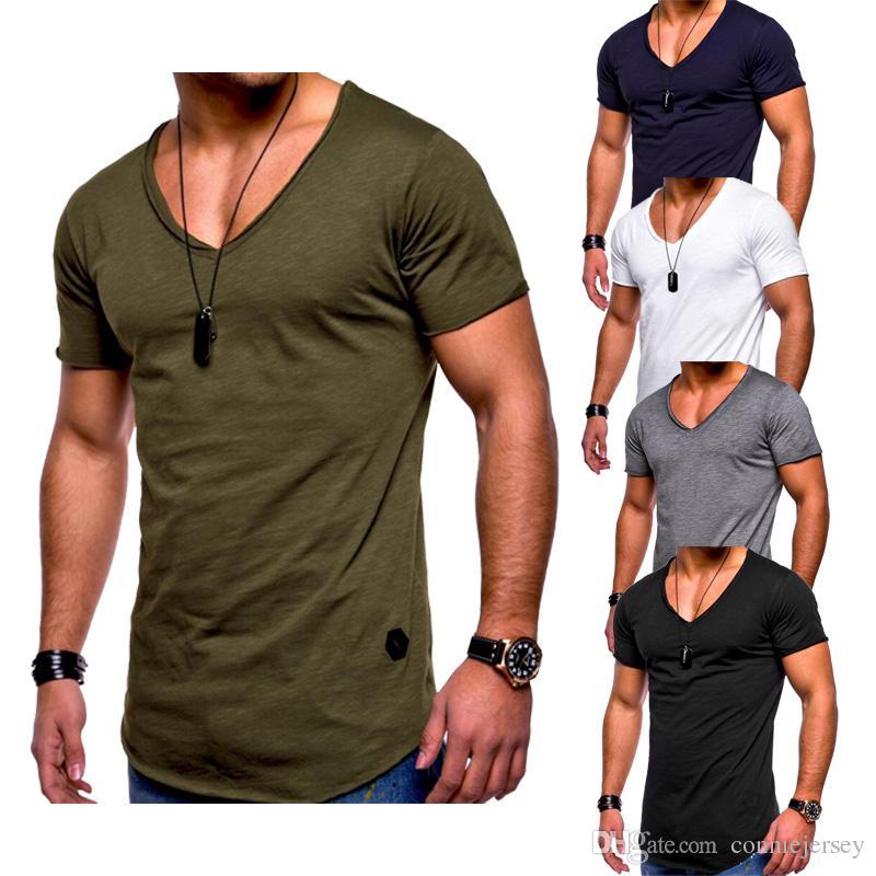 T Gömlek Erkekler Hip Hop Erkek T Shirt Moda Erkek Kısa Kollu Yaz Pamuk T-Shirt Katı Siyah Ordu Yeşil Tee Casual Tops