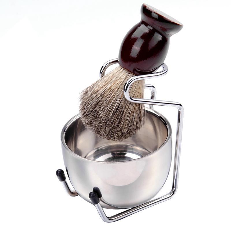 Erkekler Tıraş Fırçası Seti Badger Saç Ahşap Kol Paslanmaz Çelik Köpük Bowl Barber Erkekler Yüz Sakal Temizleme Traş Aracı HHA1184