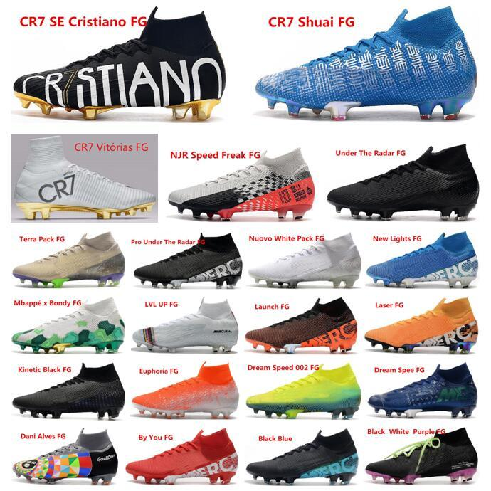 Newairl kids soccer shoes for boys mercurial superfly fg cr7 sock boots football womens men high tops ronaldo ankle indoor soccer cleats