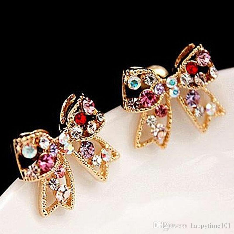 جميل الحلو القوس أقراط كريستال كريستال ملون الذهب BOWKNOT القوس شيك مربط الأذن سحر أقراط المرأة الأزياء والمجوهرات الماس القرط