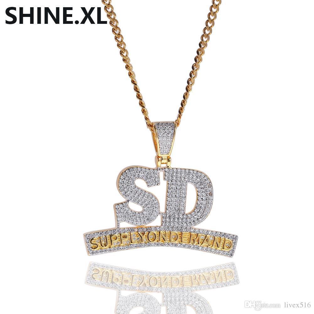 مثلج خارج كامل الزركون رسالة SD قلادة قلادة SUPPLYONDEMAND الذهب والفضة سلسلة للرجال والنساء مجوهرات الهيب هوب