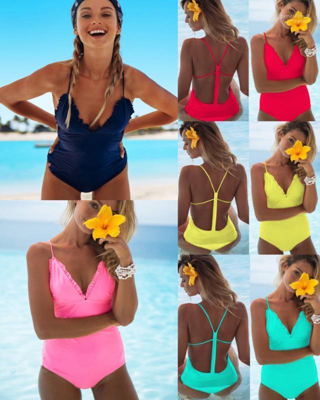Женские летние моды бикини одно цельные конфеты цвет V-образным вырезом спинки бикини рюкзали